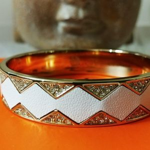 House Of Harlow 1960 Gold Bangle w/Leather Inlay